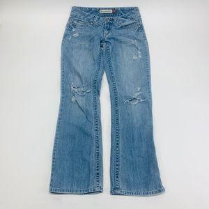 Aeropostale Womens Jeans 0 Short Blue Chelsea Boot